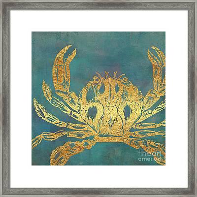 Deep Sea Life Vi Golden Crab, Ocean Texture Framed Print by Tina Lavoie