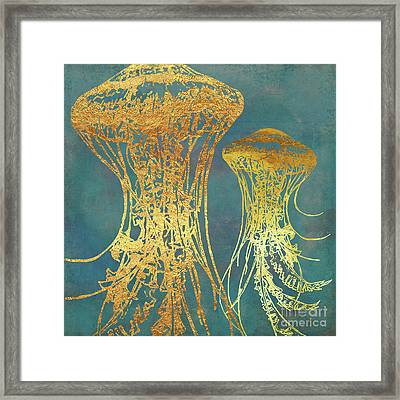 Deep Sea Life Vi Golden Jellyfish, Ocean Texture Framed Print by Tina Lavoie