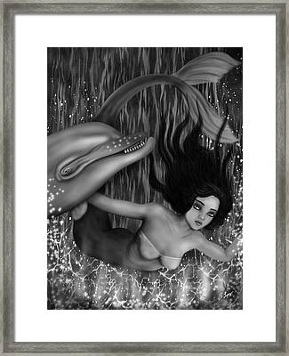 Deep Sea Mermaid - Black And White Fantasy Art Framed Print