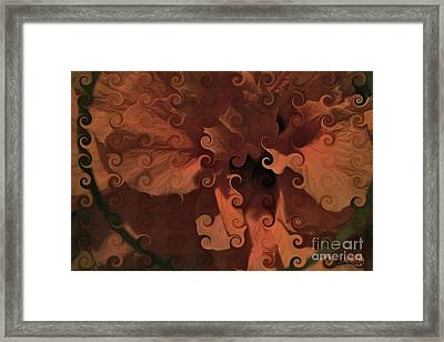 Deep Wine Curlicue Hibiscus Framed Print