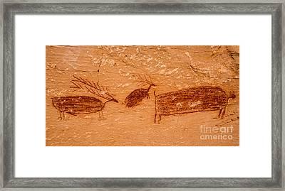 Deer And Bison Pictograph - Horseshoe Canyon - Utah Framed Print