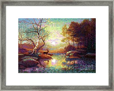 Deer And Dancing Shadows Framed Print