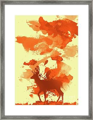 Deer Art Morning Framed Print