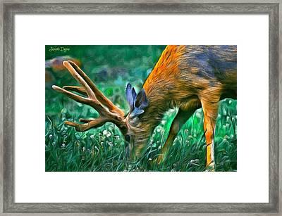 Deer At Lunch - Pa Framed Print by Leonardo Digenio