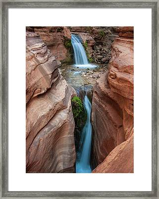 Deer Creek Double Waterfall Framed Print