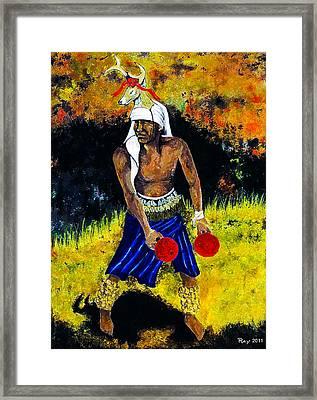 Deer Dancer Framed Print by Ray Obregon