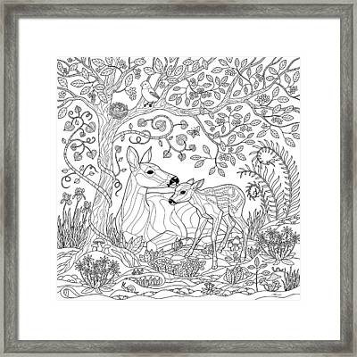 Deer Fantasy Forest Coloring Page Framed Print by Crista Forest