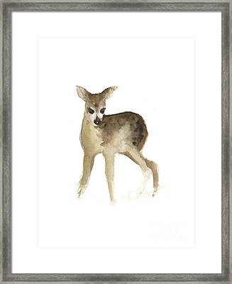 Deer Fawn Watercolor Painting Framed Print by Joanna Szmerdt