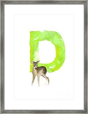 Deer Figurine Watercolor Poster Framed Print