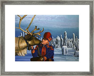 Deer Friends Of Finland Framed Print by Paul Meijering