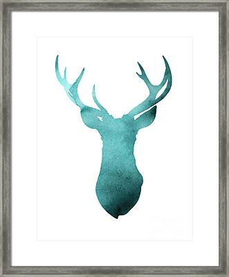 Deer Head Watercolor Giclee Print Framed Print by Joanna Szmerdt