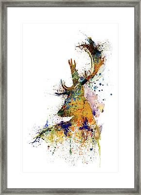 Deer Head Watercolor Silhouette Framed Print