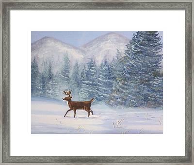 Deer In The Snow Framed Print by Denise Fulmer