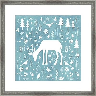 Deer In The Woods Framed Print by Nic Squirrell