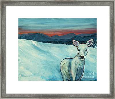 Framed Print featuring the painting Deer Jud by Angelique Bowman