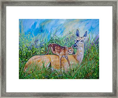 Deer Mom And Babe 24x18x1 Oil On Gallery Canvas Framed Print by Manuel Lopez