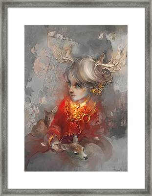 Framed Print featuring the digital art Deer Princess by Te Hu