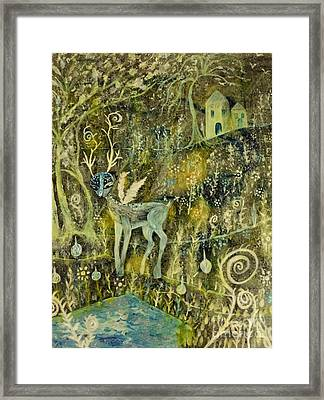 Deer Reflections Framed Print by Julie Engelhardt