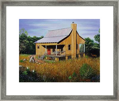 Deer Run Cabin Framed Print by Gene Gregory