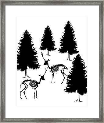 Deer Skeleton - Winter Scene Framed Print
