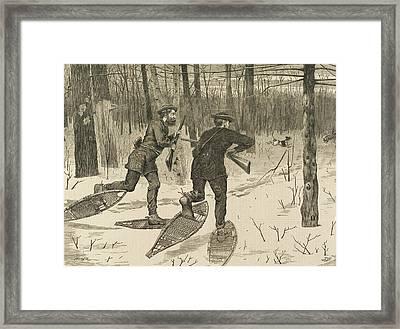 Deer-stalking In The Adirondacks In Winter Framed Print by Winslow Homer