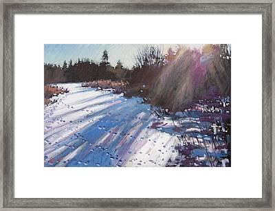Deer Tracks Snowy River Framed Print by Larry Seiler