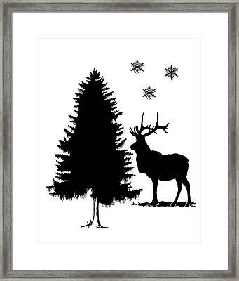 Deer Winter Scene Framed Print