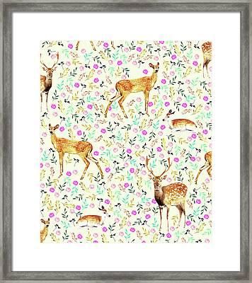 Deers Framed Print by Uma Gokhale