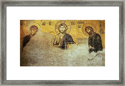 Deesis Mosaic Hagia Sophia-christ Pantocrator-judgement Day Framed Print