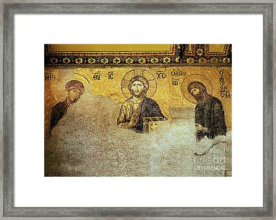 Deesis Mosaic Hagia Sophia-christ Pantocrator-the Last Judgement Framed Print