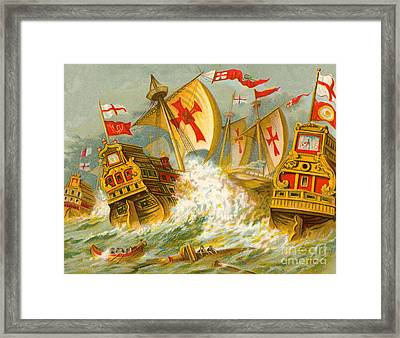 Defeat Of The Spanish Armada Framed Print by English School