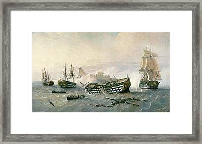 Defence Of The Havana Promontory  Framed Print by Rafael Monleon y Torres