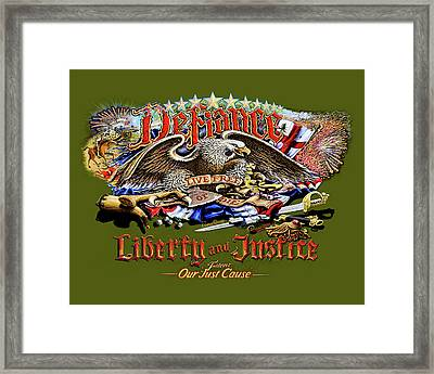 Defiance, Our Just Cause Framed Print by John Satas
