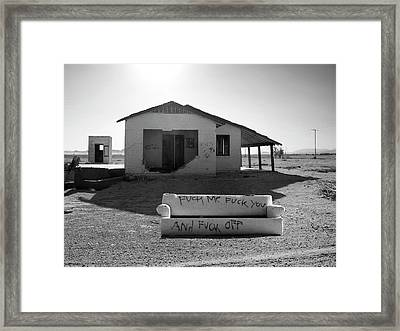 Definitive Statement Get The F Off My Dirt Lawn Framed Print
