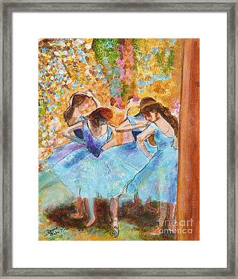 Degas Dancers In Blue Framed Print by Pauline Ross