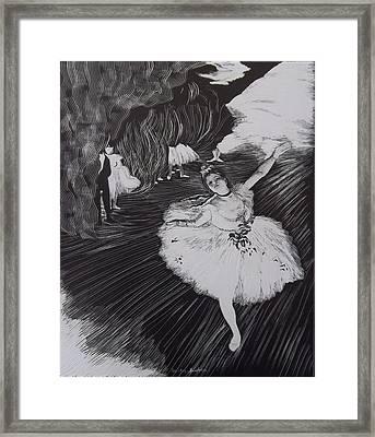 Degas' L'etoile In Scratchboard Framed Print
