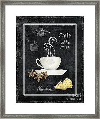 Framed Print featuring the painting Deja Brew Chalkboard Coffee 2 Caffe Latte Shortbread Chocolate Cookies by Audrey Jeanne Roberts