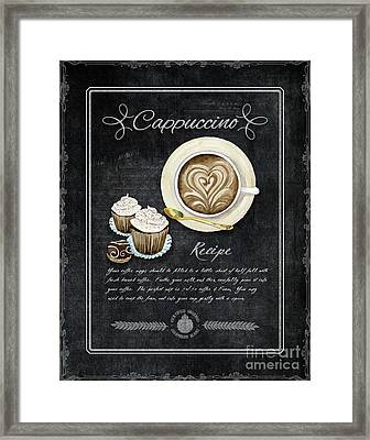 Deja Brew Chalkboard Coffee 3 Cappuccino Cupcakes Chocolate Recipe  Framed Print
