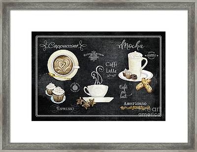Framed Print featuring the painting Deja Brew Chalkboard Coffee Cappuccino Mocha Caffe Latte by Audrey Jeanne Roberts