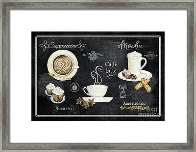 Deja Brew Chalkboard Coffee Cappuccino Mocha Caffe Latte Framed Print by Audrey Jeanne Roberts
