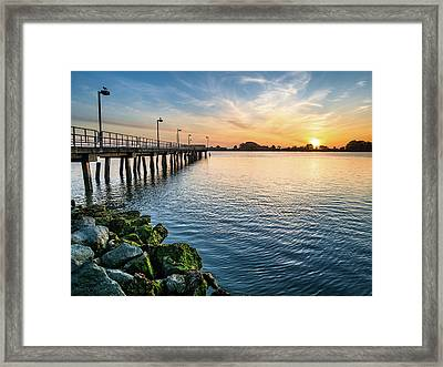 Del Norte Pier And Spring Sunset Framed Print by Greg Nyquist