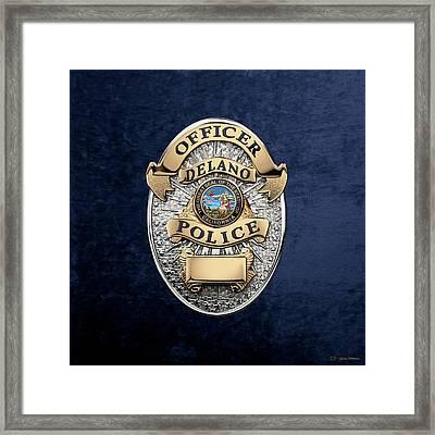 Delano Police Department - Officer Badge Over Blue Velvet Framed Print by Serge Averbukh
