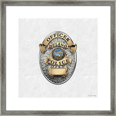 Delano Police Department - Officer Badge Over White Leather Framed Print by Serge Averbukh