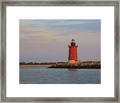 Framed Print featuring the photograph Delaware Breakwater Light 2016 by Robert Pilkington