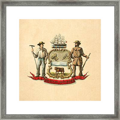 Delaware Historical Coat Of Arms Circa 1876 Framed Print