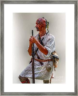 Delaware Indian Warrior Portrait 1763 Framed Print by Randy Steele