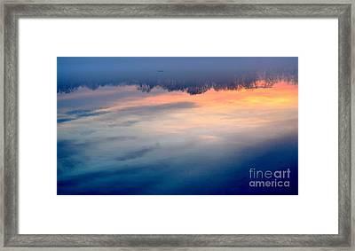 Delaware River Abstract Reflections Foggy Sunrise Nature Art Framed Print