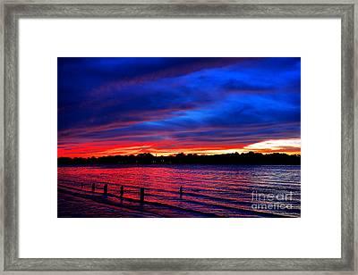 Delaware River Fiery Dusk  Framed Print