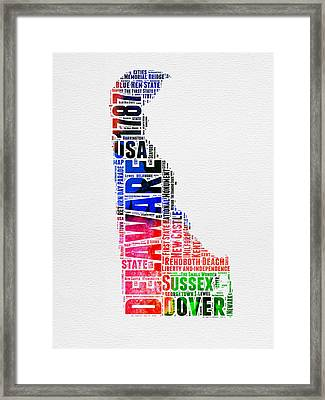 Delaware Watercolor Word Cloud  Framed Print by Naxart Studio