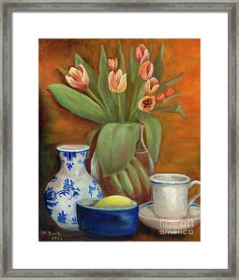 Delft Vase And Mini Tulips Framed Print by Marlene Book